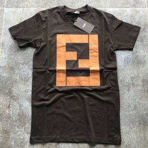 F E N D I Men's T-Shirt Leather Embroidery Cotton